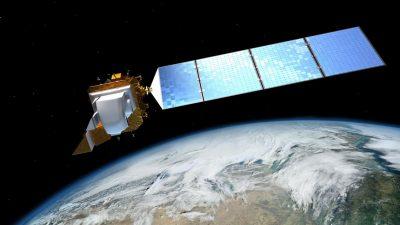 Landsat 8 illustration above Earth